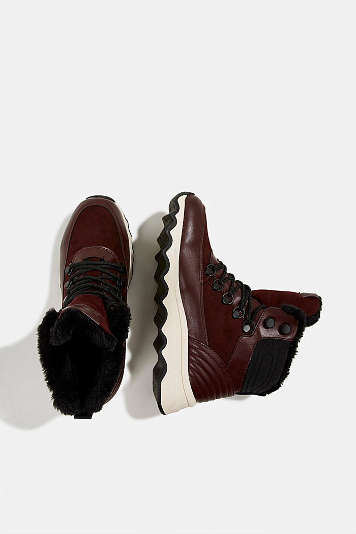 Boots with a striking sole and faux fur lining, BORDEAUX RED, detail image number 1