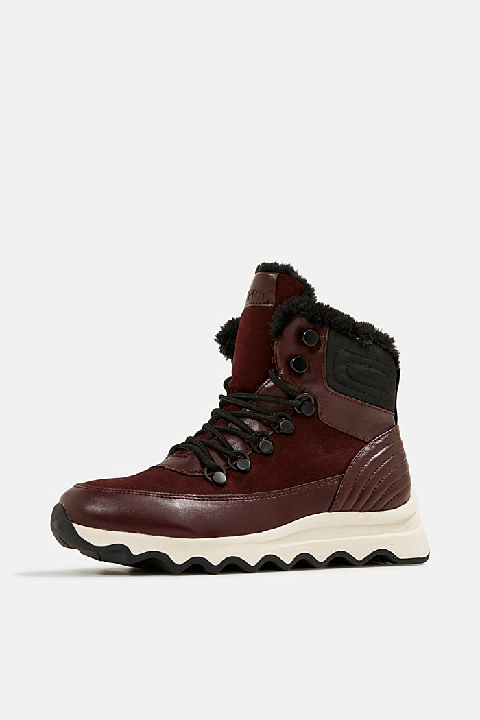 Boots with a striking sole and faux fur lining, BORDEAUX RED, detail image number 2