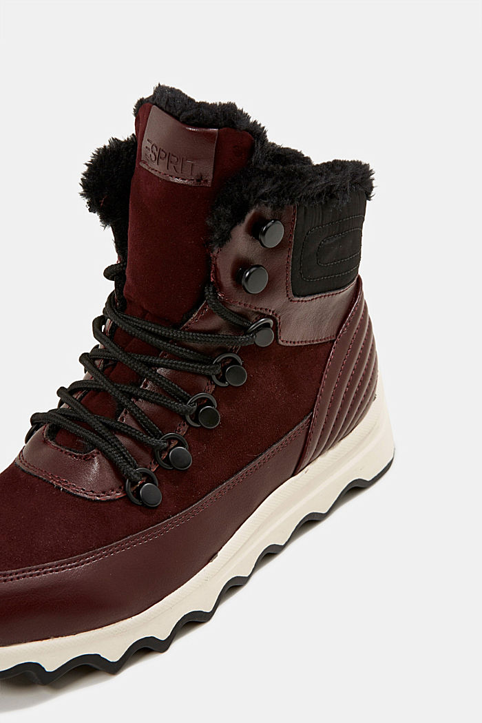 Boots with a striking sole and faux fur lining, BORDEAUX RED, detail image number 4