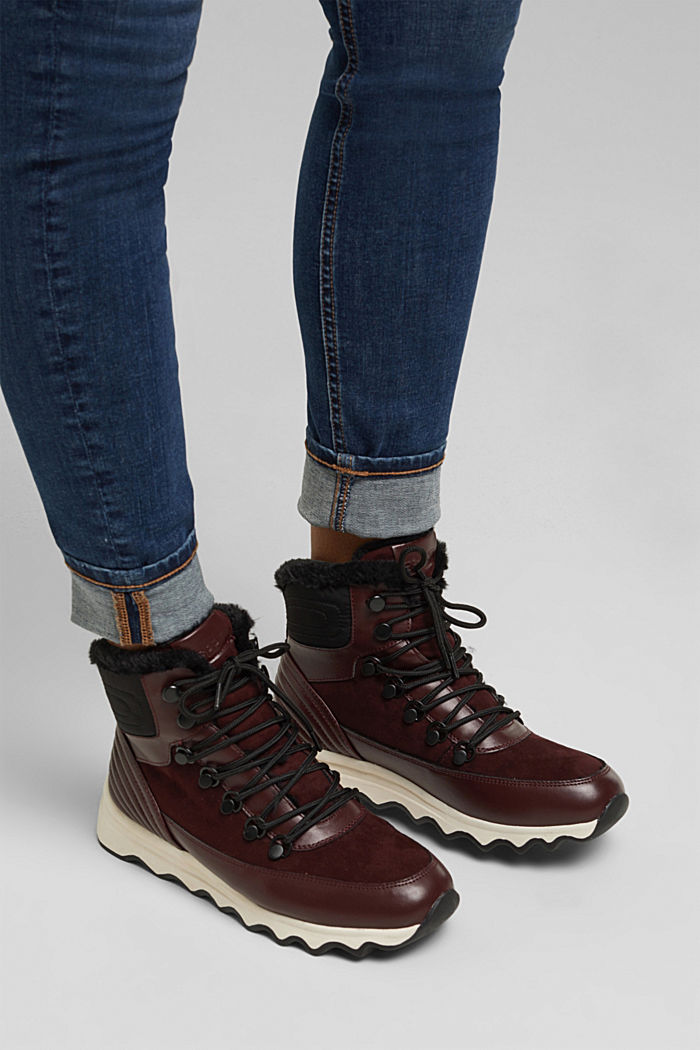Boots with a striking sole and faux fur lining, BORDEAUX RED, detail image number 3