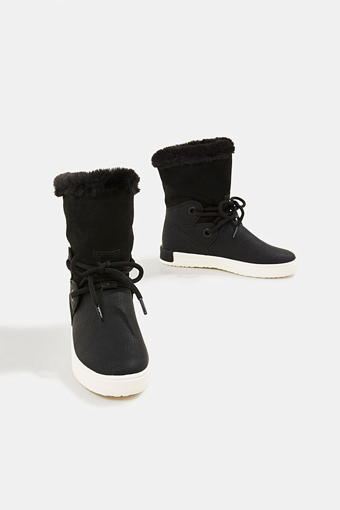 Snow ankle boots in faux leather, BLACK, detail image number 6