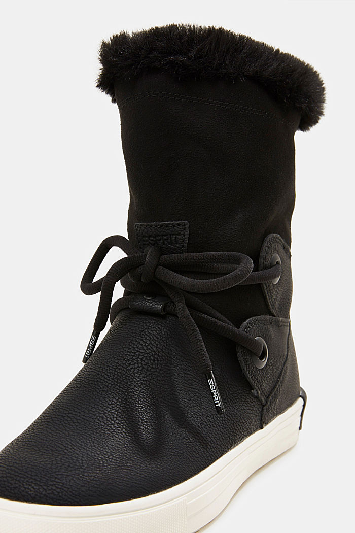 Snow ankle boots in faux leather, BLACK, detail image number 4