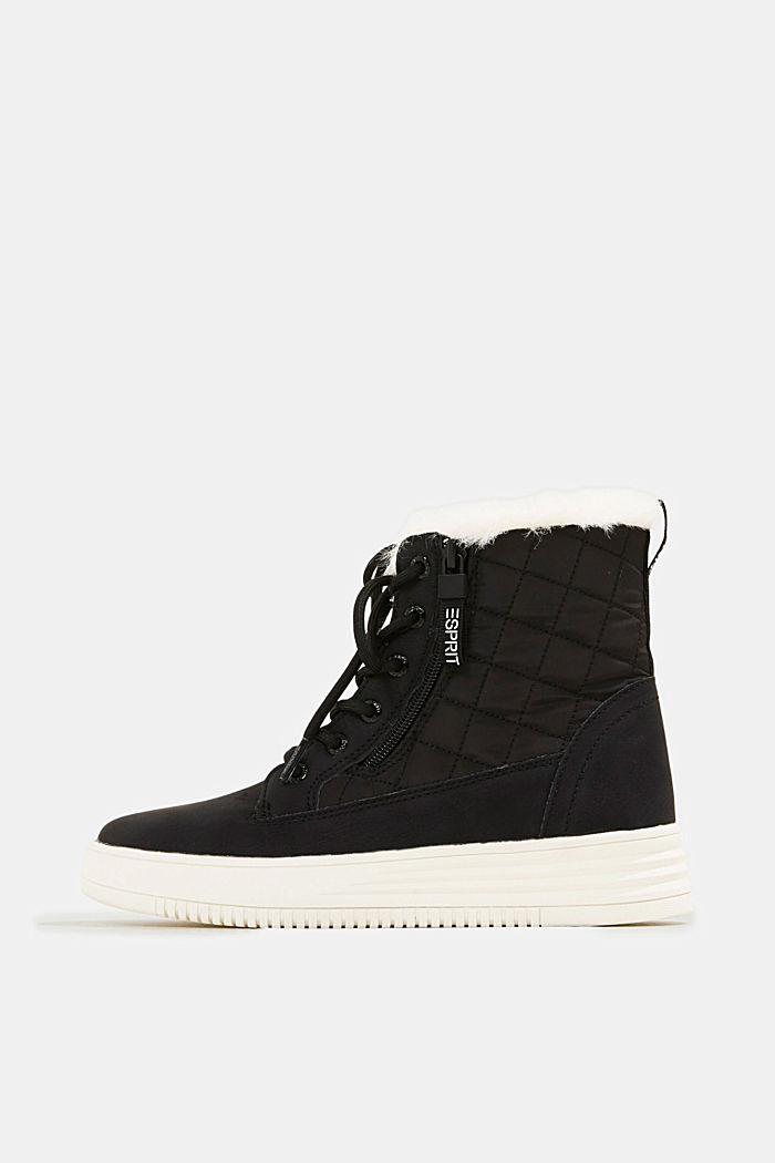 Trainer/ankle boots with faux fur lining, BLACK, detail image number 0
