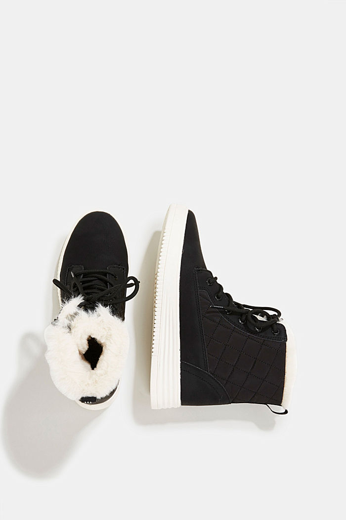 Trainer/ankle boots with faux fur lining, BLACK, detail image number 1