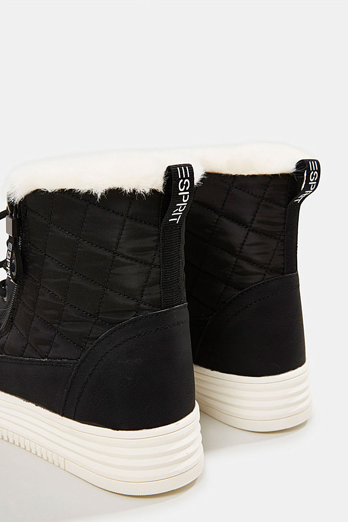 Trainer/ankle boots with faux fur lining, BLACK, detail image number 5