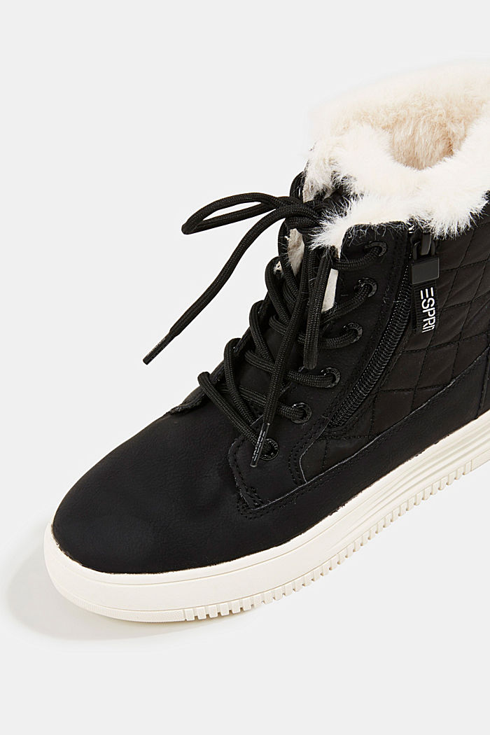 Trainer/ankle boots with faux fur lining, BLACK, detail image number 4