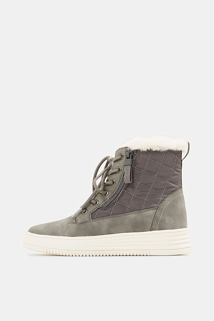 Trainer/ankle boots with faux fur lining, GREY, detail image number 0
