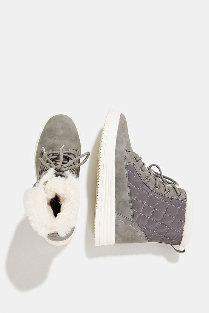 Trainer/ankle boots with faux fur lining, GREY, detail image number 1