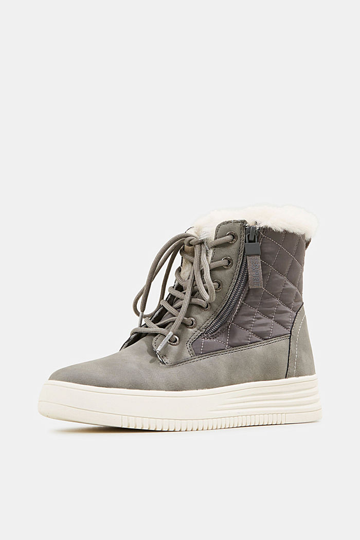 Trainer/ankle boots with faux fur lining, GREY, detail image number 2