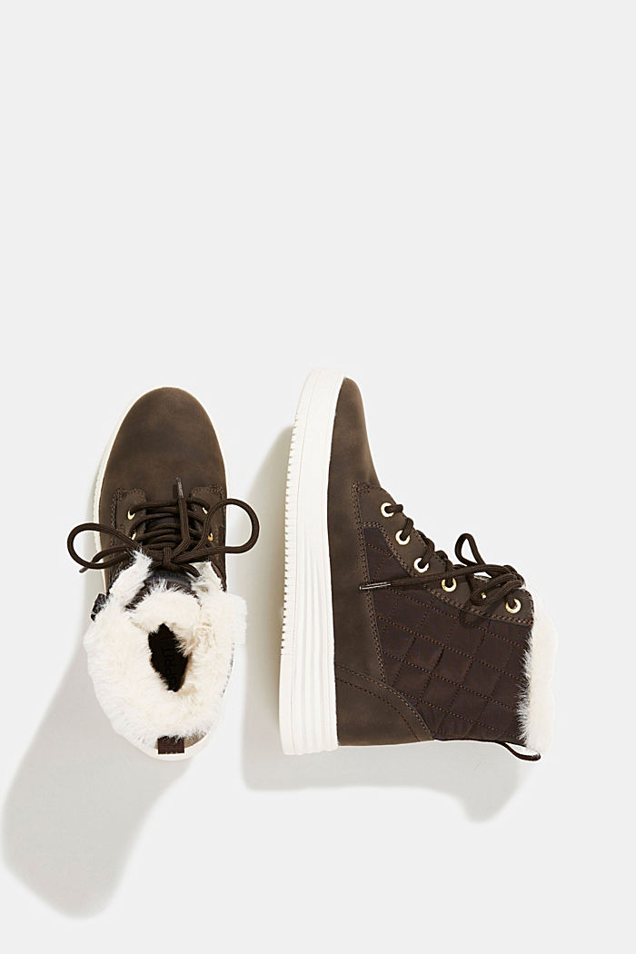 Trainer/ankle boots with faux fur lining, DARK BROWN, detail image number 1