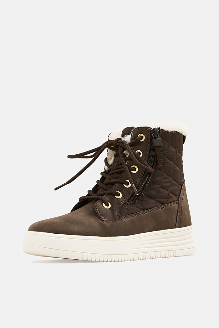 Trainer/ankle boots with faux fur lining, DARK BROWN, detail image number 2