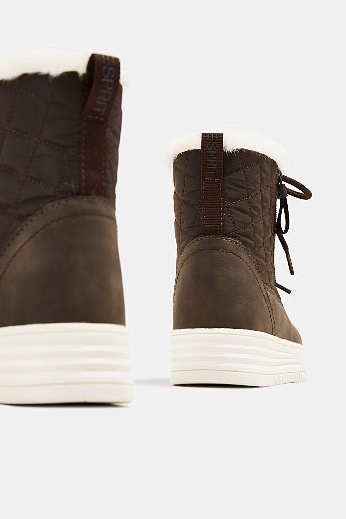 Sneakerboots met voering van imitatiebont, DARK BROWN, detail image number 5