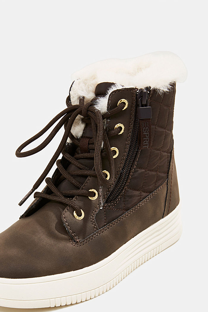 Trainer/ankle boots with faux fur lining, DARK BROWN, detail image number 4