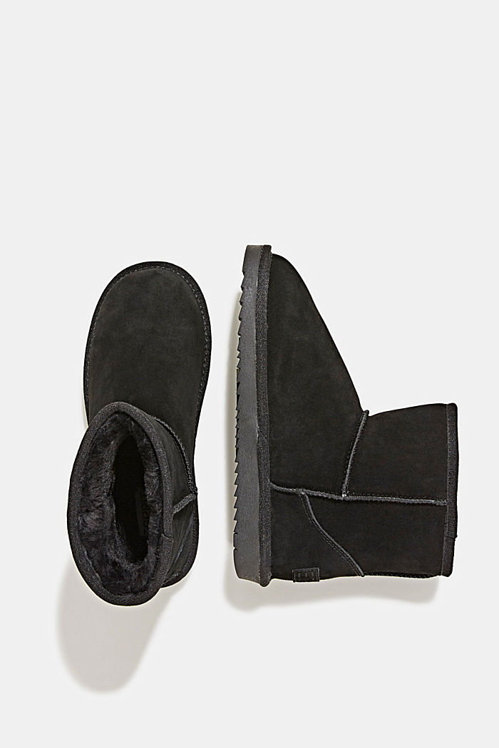 Made of leather: Shearling-look boots, BLACK, detail image number 1