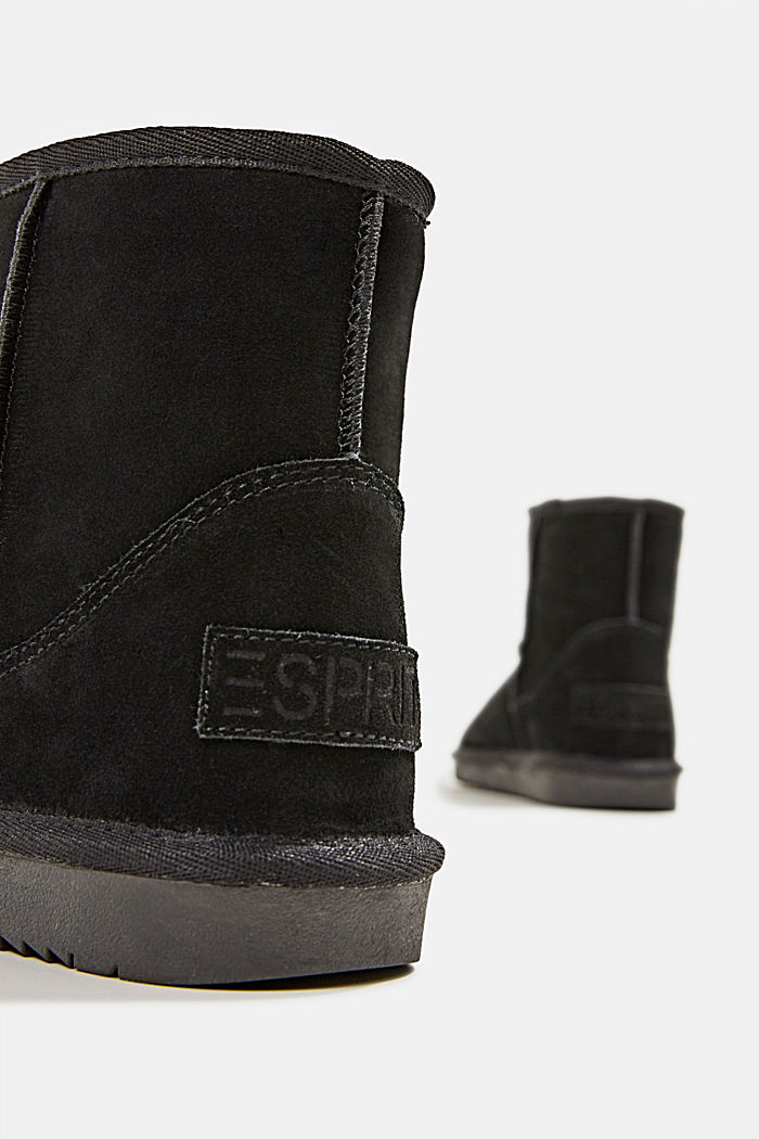 Made of leather: Shearling-look boots, BLACK, detail image number 5