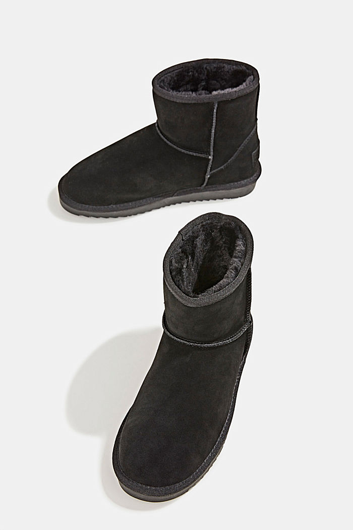 Made of leather: Shearling-look boots, BLACK, detail image number 6