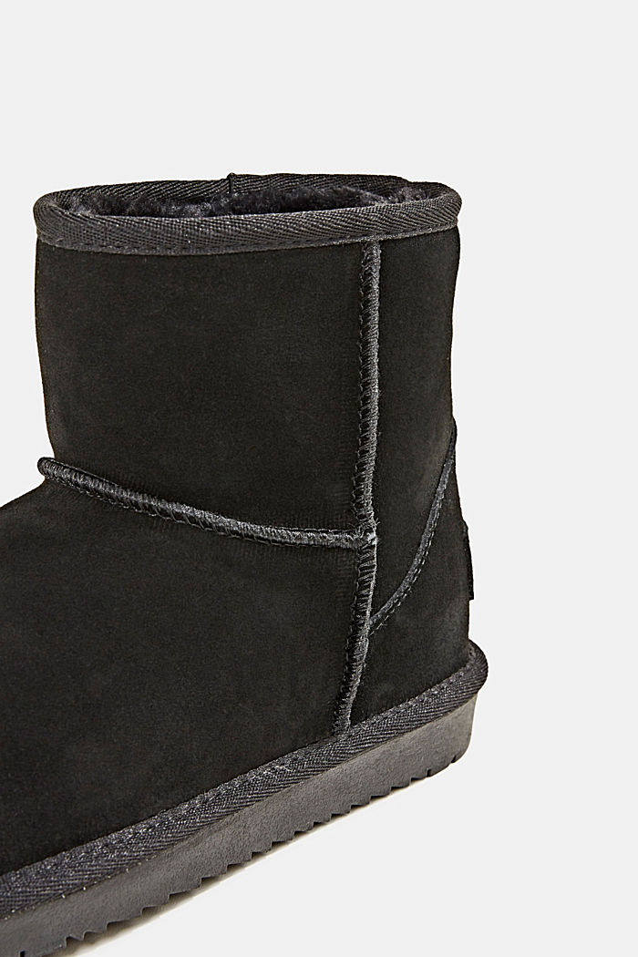 Made of leather: Shearling-look boots, BLACK, detail image number 4