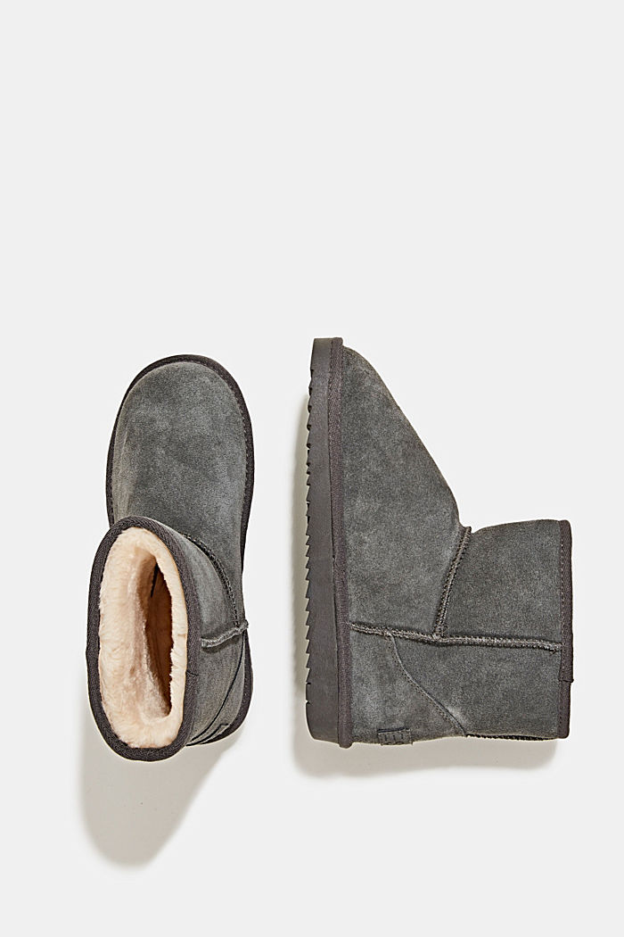 Made of leather: Shearling-look boots, DARK GREY, detail image number 1