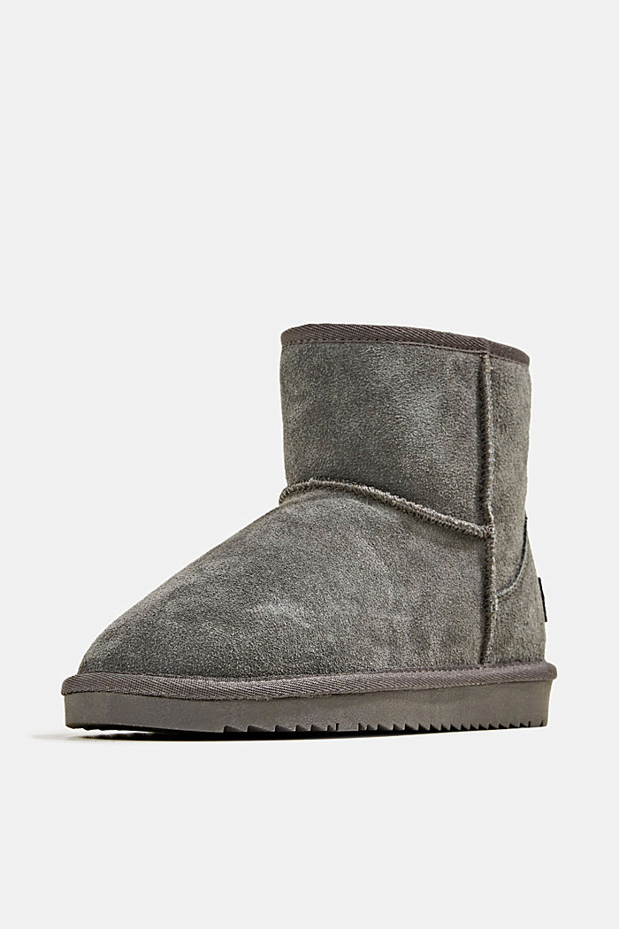 Made of leather: Shearling-look boots, DARK GREY, detail image number 2