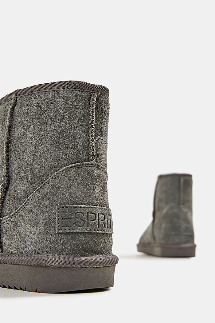 Made of leather: Shearling-look boots, DARK GREY, detail image number 4