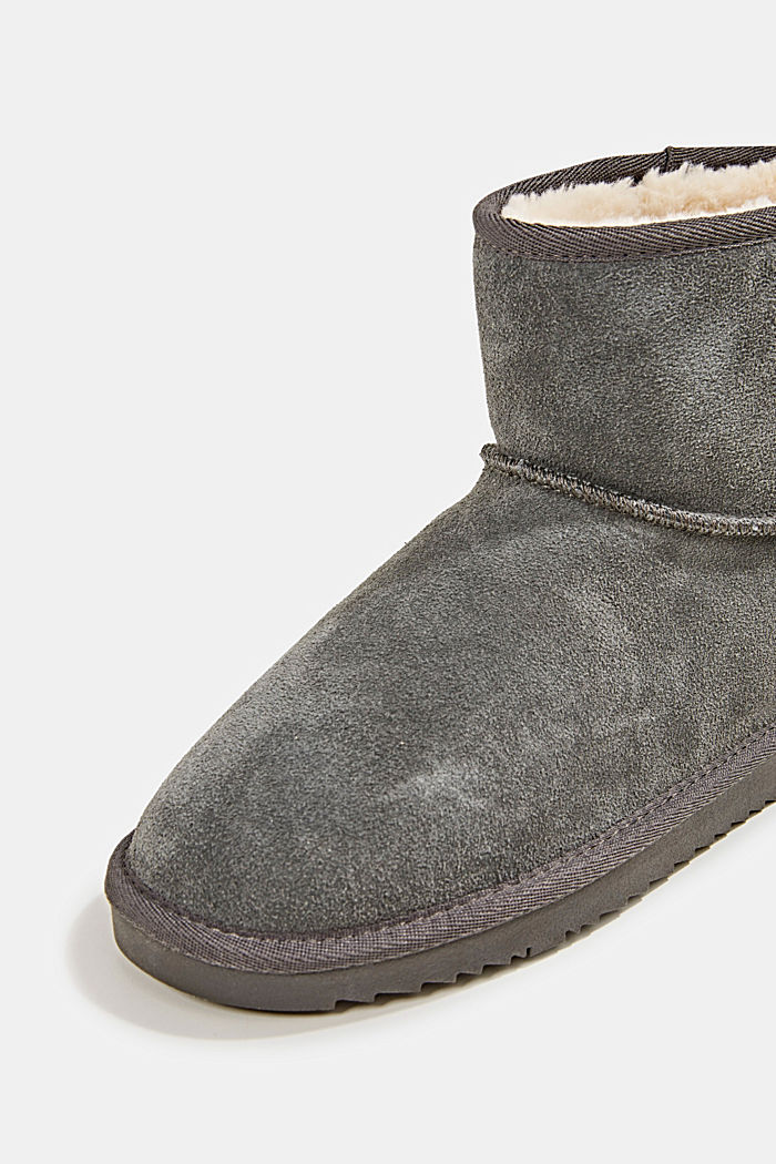 Made of leather: Shearling-look boots, DARK GREY, detail image number 3
