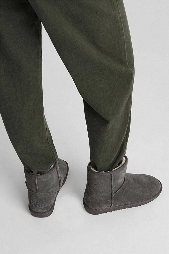 En cuir: les bottines d'aspect peau d'agneau, DARK GREY, detail image number 3