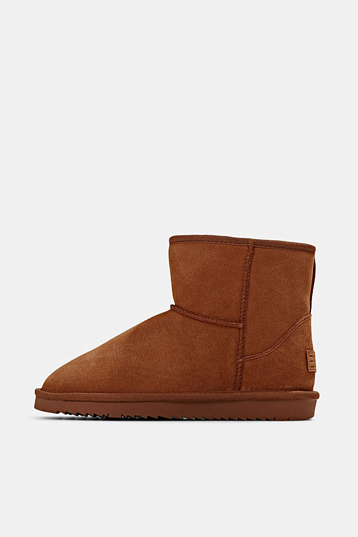 Made of leather: Shearling-look boots, CARAMEL, detail image number 0