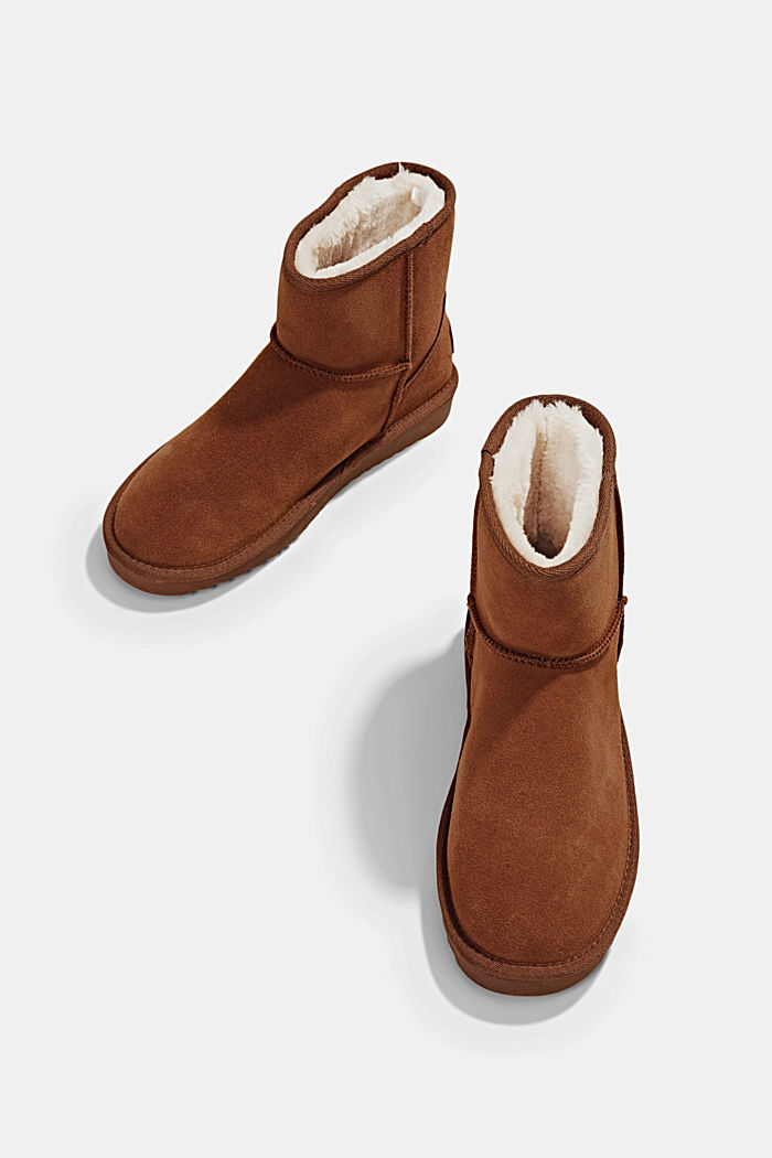 Made of leather: Shearling-look boots, CARAMEL, detail image number 6
