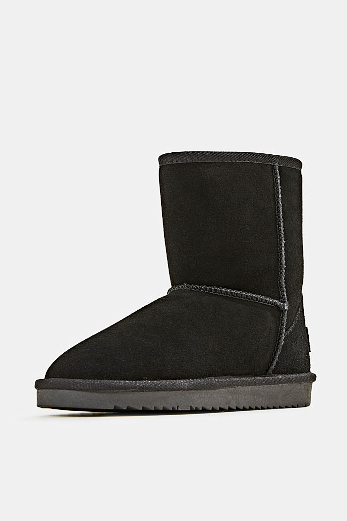 Made of leather: Shearling-look boots, BLACK, detail image number 2