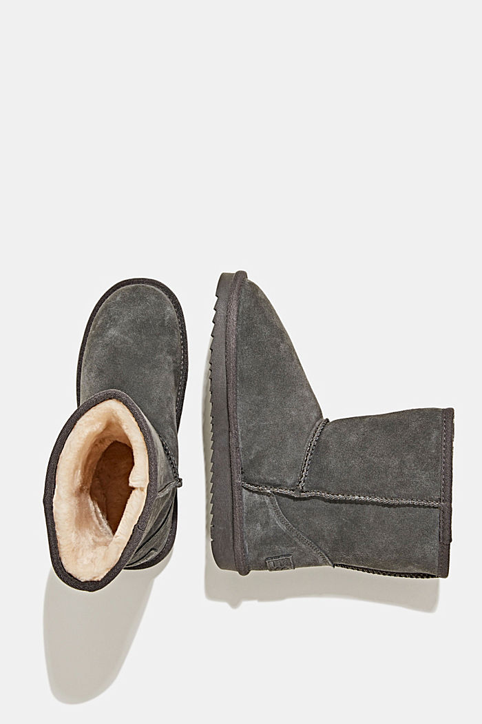 Made of leather: Shearling-look boots, LIGHT GREY, detail image number 1