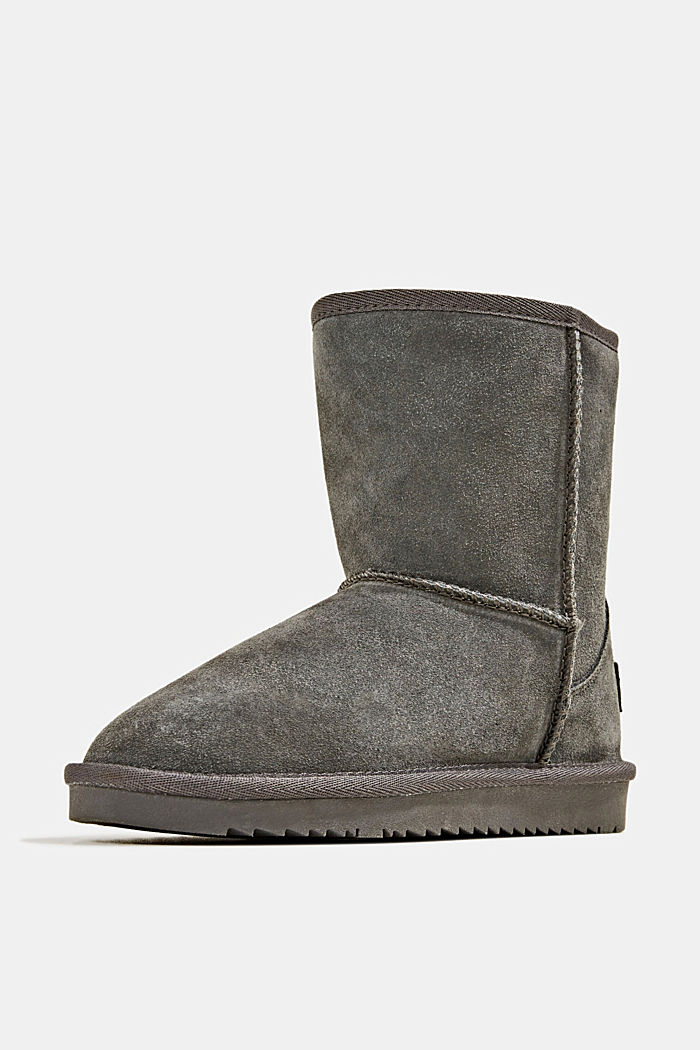 Made of leather: Shearling-look boots, LIGHT GREY, detail image number 2