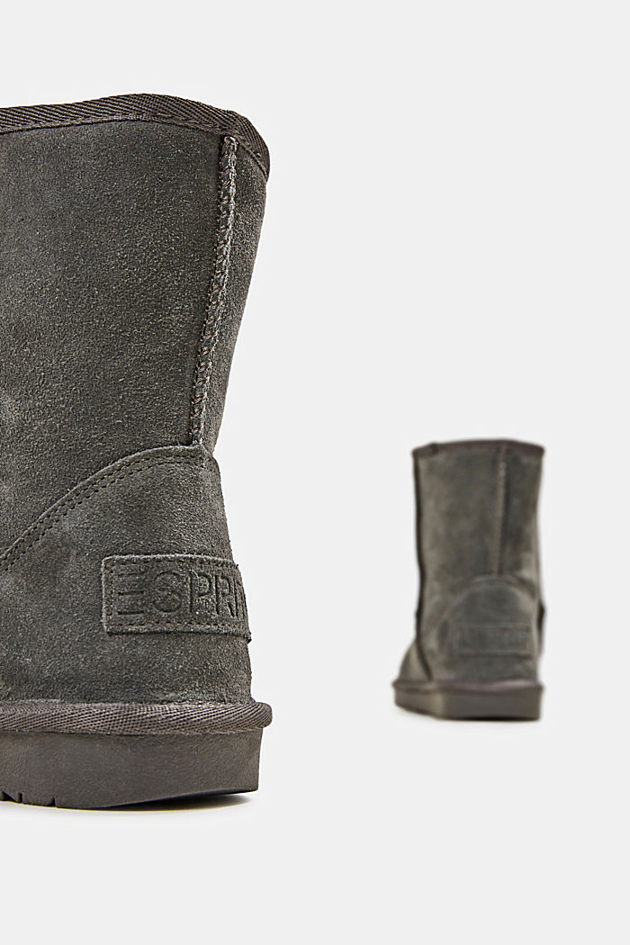Made of leather: Shearling-look boots, LIGHT GREY, detail image number 5