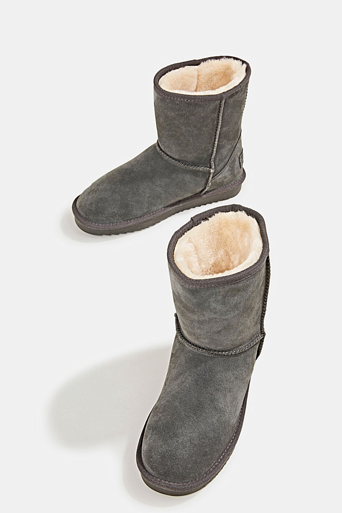 Made of leather: Shearling-look boots, LIGHT GREY, detail image number 6