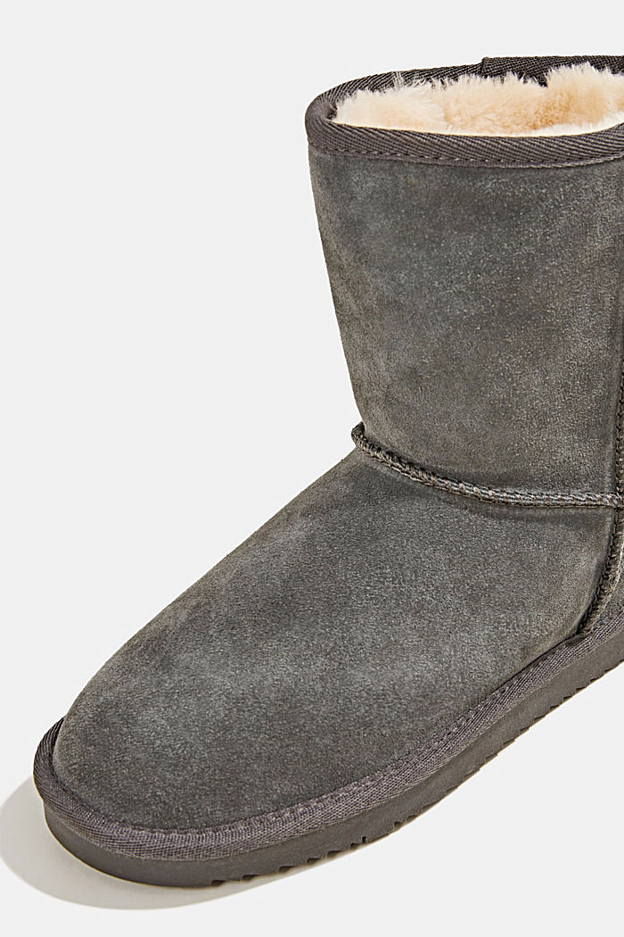 Made of leather: Shearling-look boots, LIGHT GREY, detail image number 4