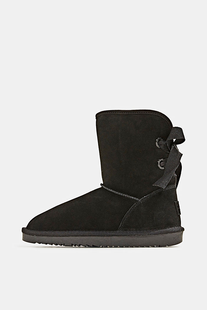 Made of leather: Shearling-look boots, BLACK, detail image number 0