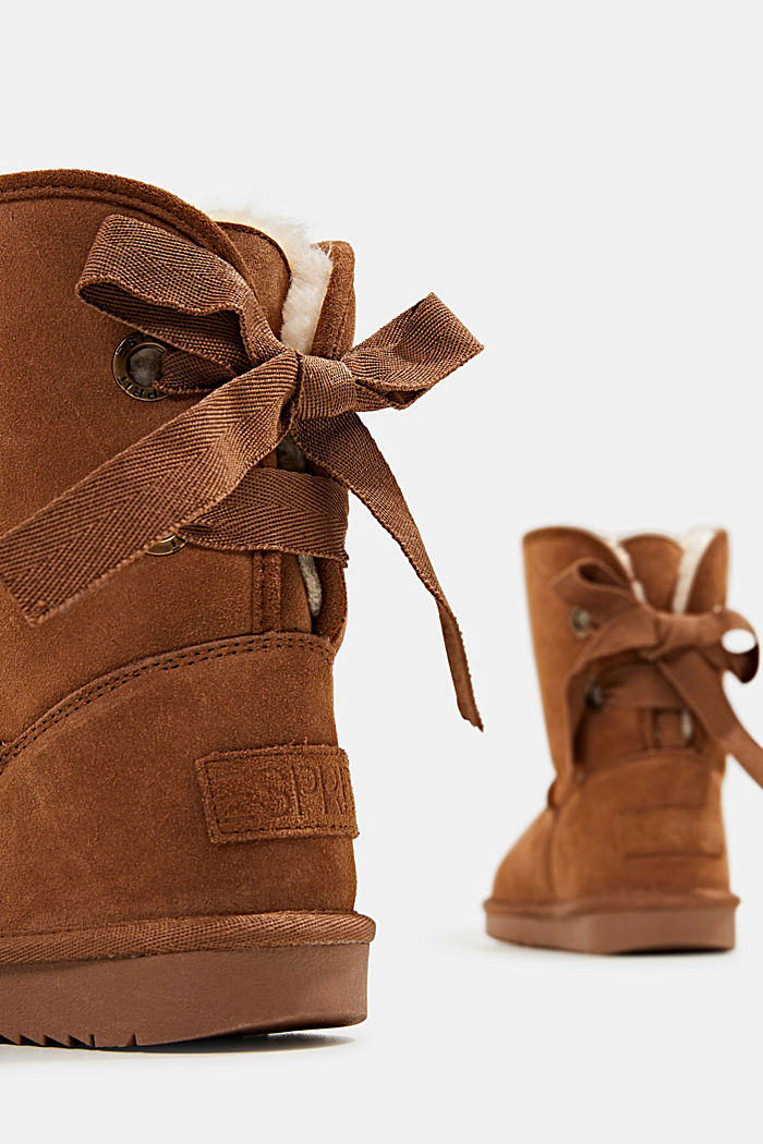 Made of leather: Shearling-look boots, CARAMEL, detail image number 5