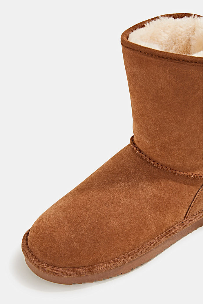 Made of leather: Shearling-look boots, CARAMEL, detail image number 4