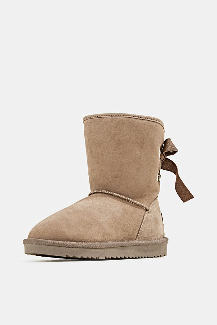 Made of leather: Shearling-look boots, TAUPE, detail image number 2