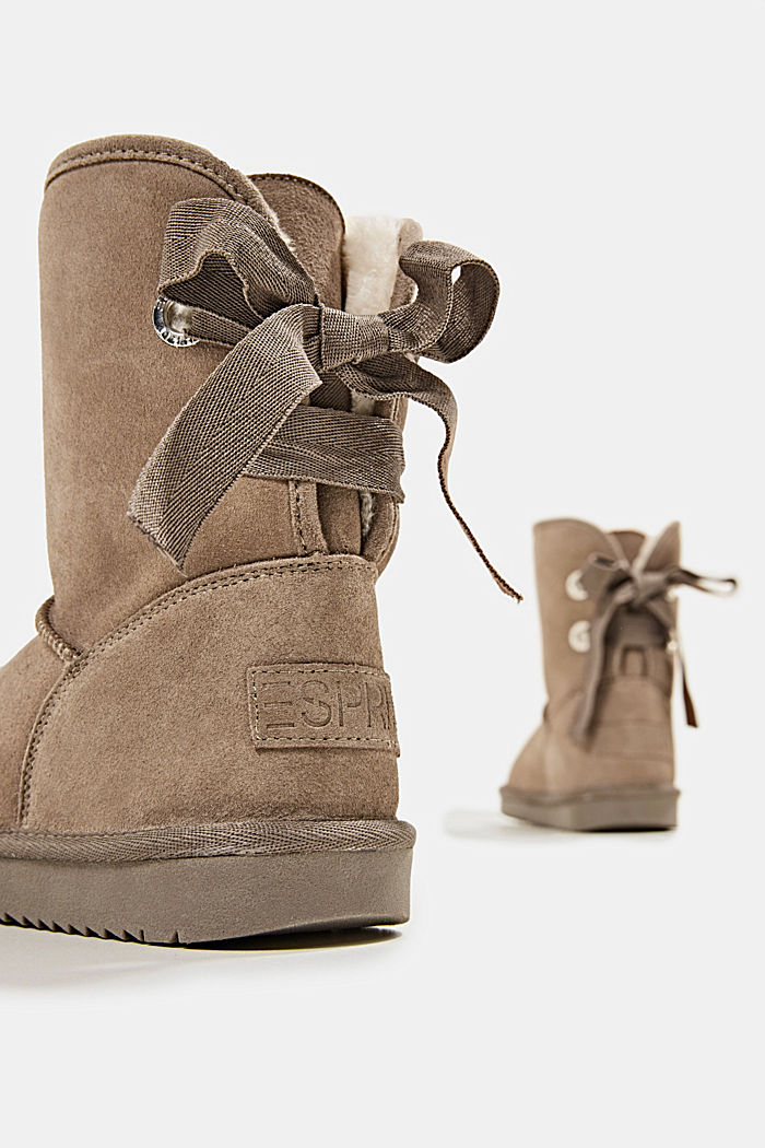 Made of leather: Shearling-look boots, TAUPE, detail image number 5