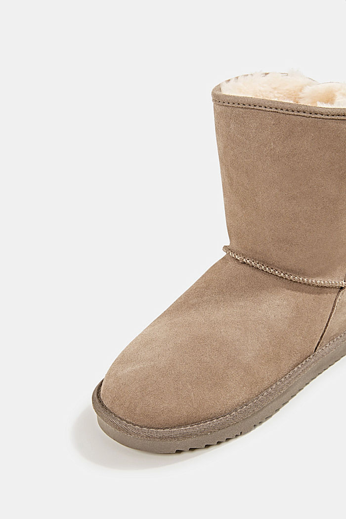 Made of leather: Shearling-look boots, TAUPE, detail image number 4