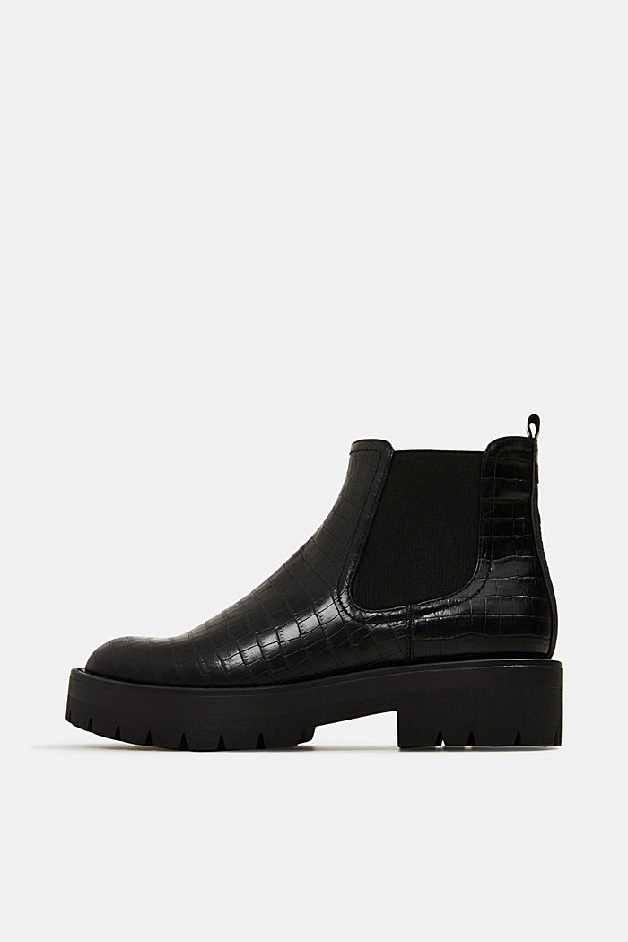 Boots in faux reptile leather, BLACK, detail image number 0