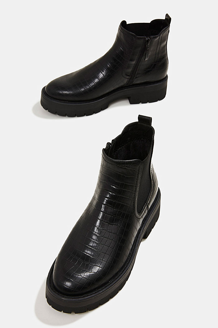 Boots in faux reptile leather, BLACK, detail image number 6