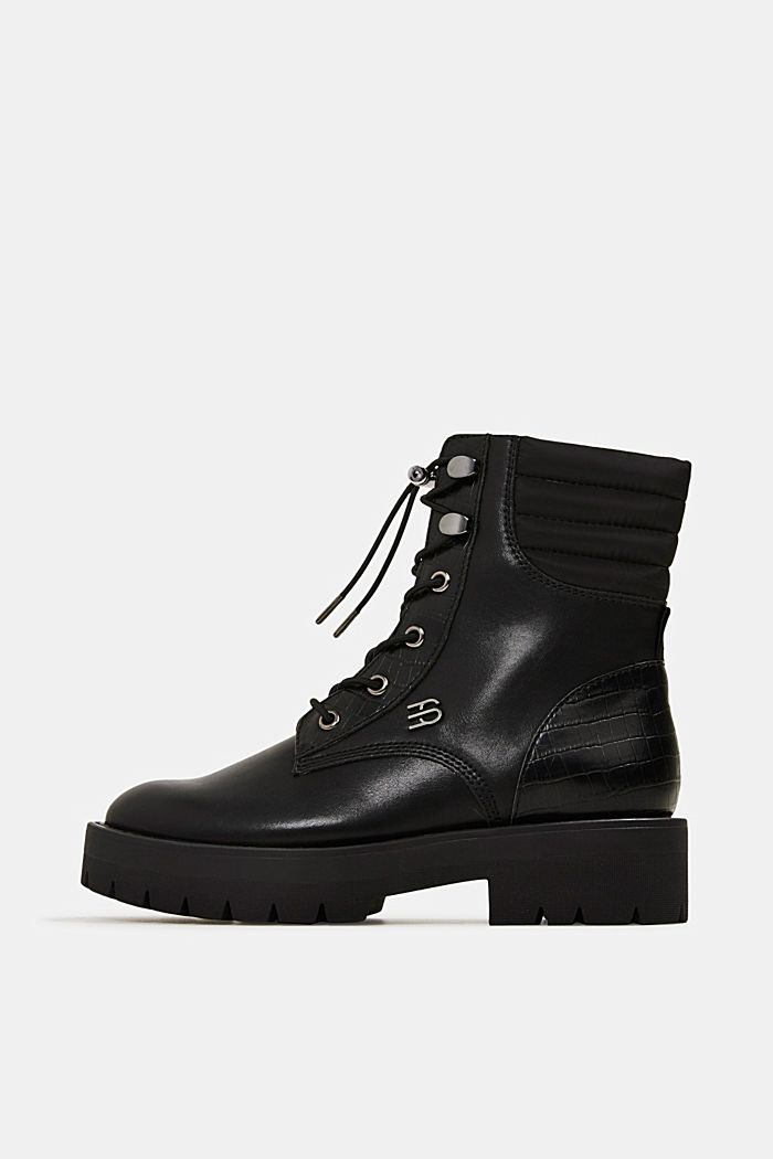 Lace-up boots with faux reptile leather, BLACK, detail image number 0