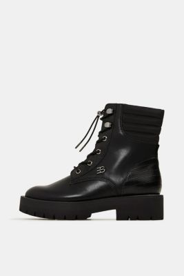 Lace-up boots with faux reptile leather, BLACK, detail