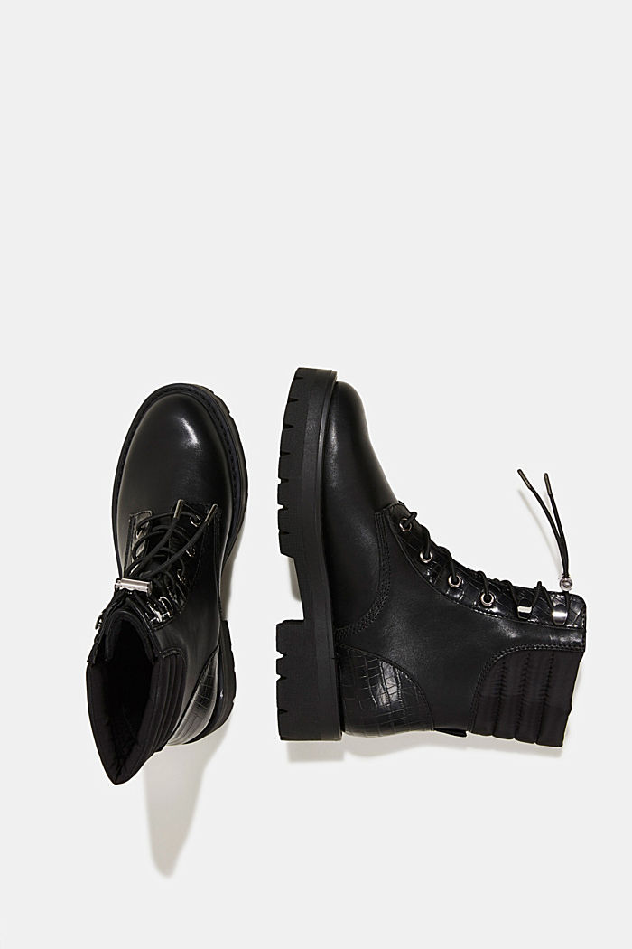 Lace-up boots with faux reptile leather, BLACK, detail image number 1