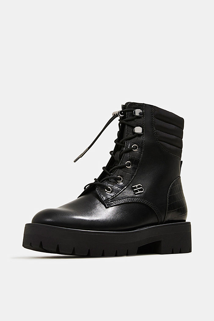 Lace-up boots with faux reptile leather, BLACK, detail image number 2