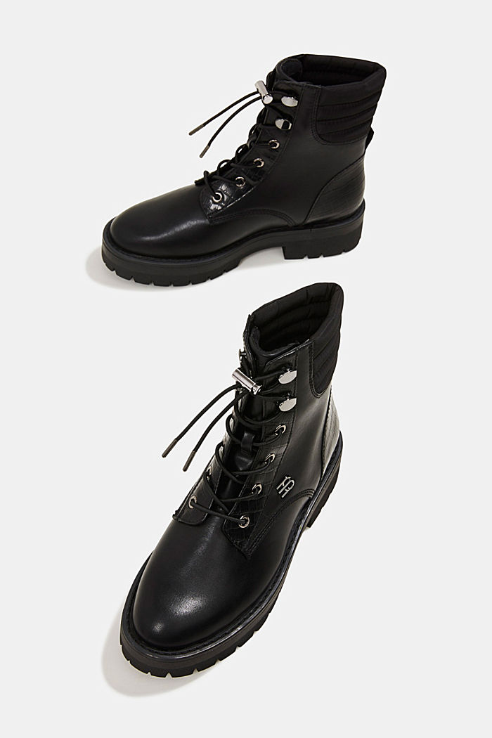 Lace-up boots with faux reptile leather, BLACK, detail image number 6