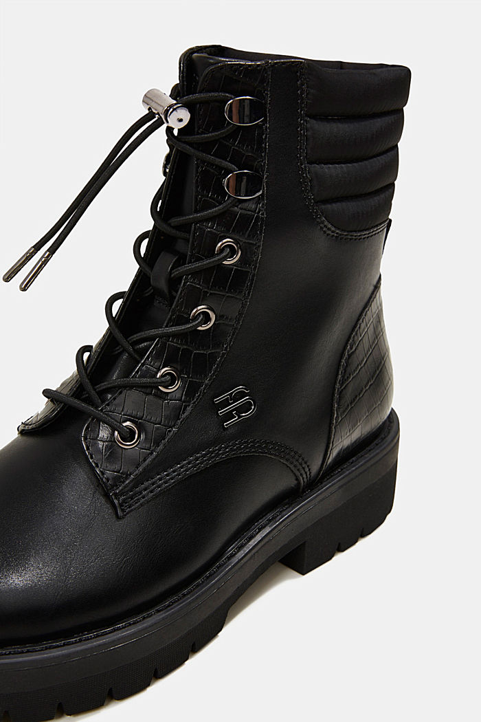 Lace-up boots with faux reptile leather, BLACK, detail image number 4