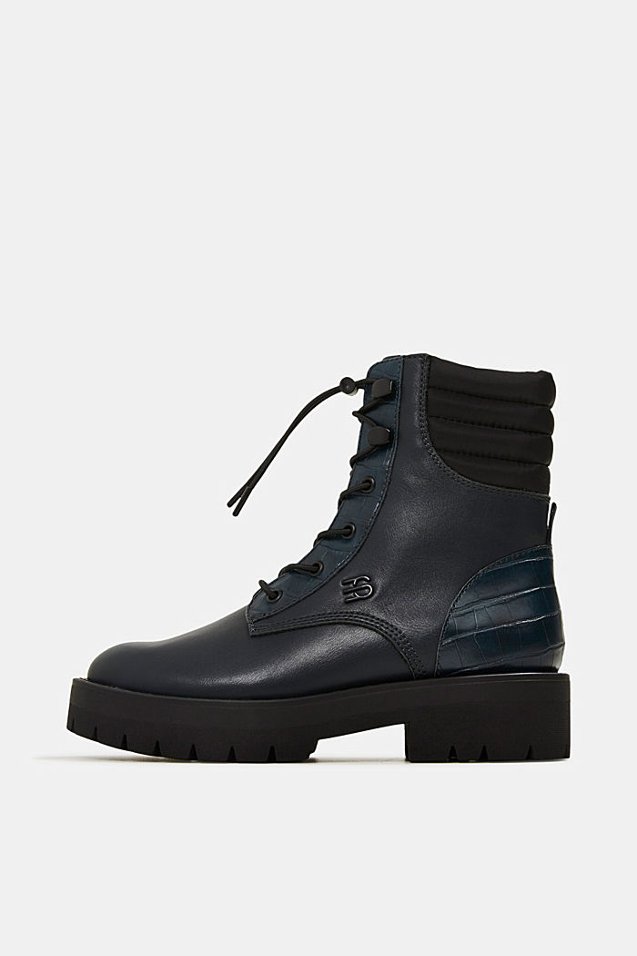Lace-up boots with faux reptile leather, DARK TEAL GREEN, detail image number 0