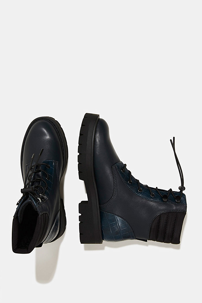 Lace-up boots with faux reptile leather, DARK TEAL GREEN, detail image number 1